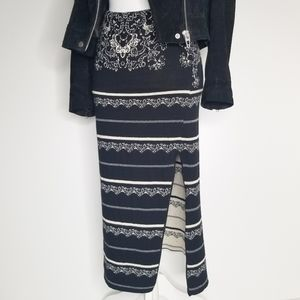 Free People Knit Slit Bodycon Skirt XS Black White